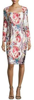 Jovani Long-Sleeve Square-Neck Cocktail Dress, Multi Colors $560 thestylecure.com