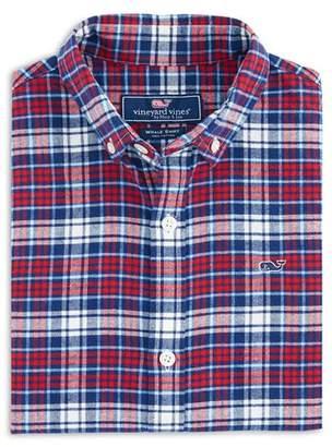 Vineyard Vines Boys' Plaid Cotton Flannel Whale Shirt - Little Kid, Big Kid