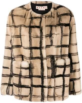 Marni abstract check fur coat