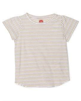 Bonton Girl Ailette T Shirt Milkshake Stripes(3-6 Years)