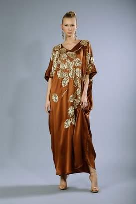 Josie Natori Couture Beaded Peacock Caftan