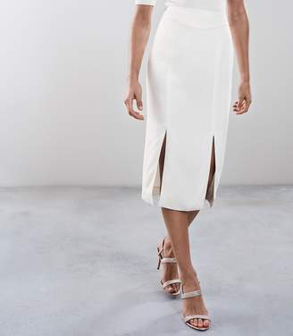 Reiss BEAU DOUBLE SPLIT PENCIL SKIRT Off White