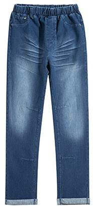 UNACOO Boys Casual Ripped Jeans Elastic Waist Denim Pants(