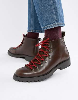 Asos DESIGN hiker boot in brown leather with flecked laces