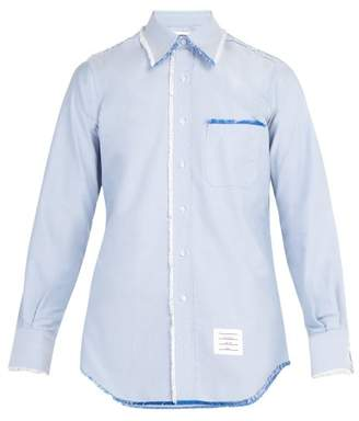 Thom Browne Frayed Edge Cotton Shirt - Mens - Light Blue