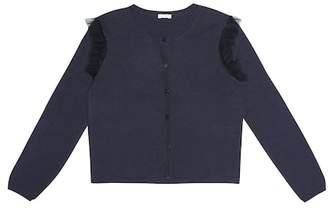 Il Gufo Tulle-trimmed cotton cardigan