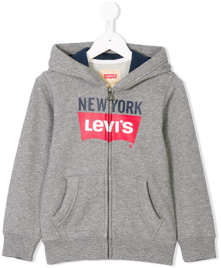 Kids logo zipped hoodie