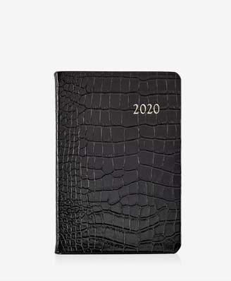 GiGi New York 2020 Daily Journal In Black Crocodile Embossed Leather