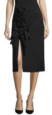 Brant Front-Slit Midi Skirt
