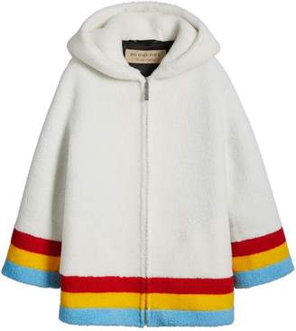 Burberry Striped Detail Faux Shearling Hooded Jacket