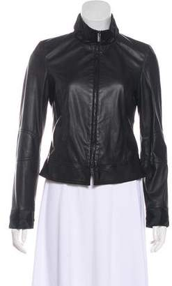 Armani Collezioni Satin-Trimmed Leather Jacket