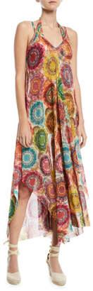 Fuzzi V-Neck Printed Coverup Maxi Dress