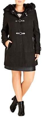 City Chic Plus Wonderland Faux Fur-Trimmed Coat