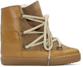 Isabel Marant Camel Shearling Nowles Boots $715 thestylecure.com