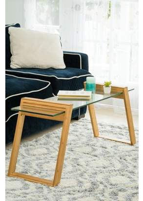 """Zora 43"""" Long Glass And Bamboo Coffee Table"""