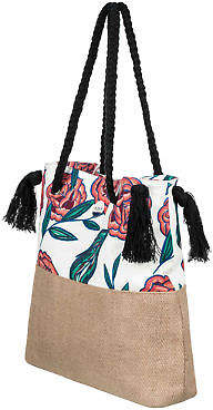 Roxy NEW ROXYTM Gimini Printed Jute Tote Bag Womens Handbag