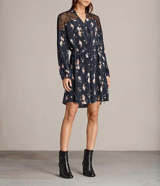 AllSaints Laya Meadow Silk Dress