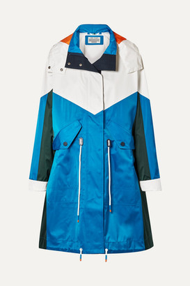 Tory Sport Oversized Hooded Color-block Shell Jacket - Bright blue