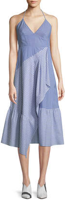 Tibi Collage Striped Halter Midi Dress