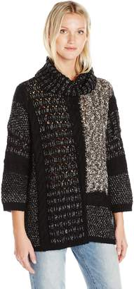 Lucky Brand Women's Mixed Cable Stitich Cowl Sweater