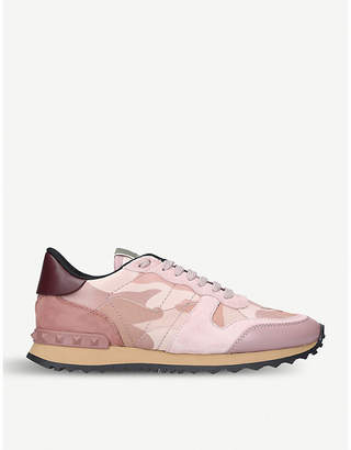 Valentino Rockstud Camo leather and suede trainers