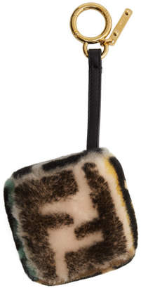 Fendi Multicolor Shearling Forever Cube Keychain
