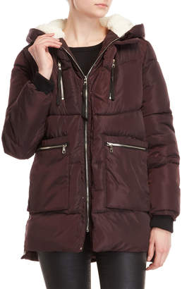 Steve Madden Sherpa-Lined Hooded Coat