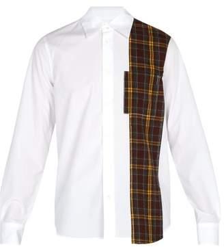 Marni Checked Panel Cotton Shirt - Mens - White