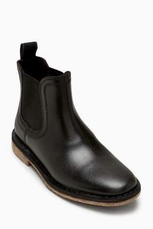 Boys Black Chelsea Leather Boots (Older Boys) - Black