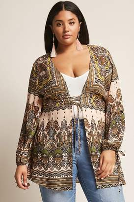 Forever 21 Plus Size Ornate Print Lace-Up Tunic