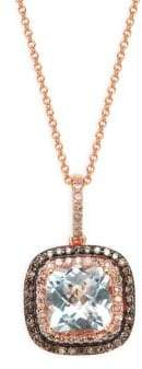 Effy 14K Rose Gold, Clear Quartz & Diamond Square Pendant Necklace