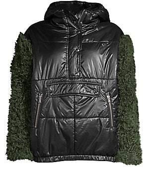 Sandy Liang Sandy Liang Women's Shearling Sleeve Puffer Jacket