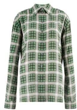 Marc Jacobs Redux Grunge Plaid Washed Silk Shirt
