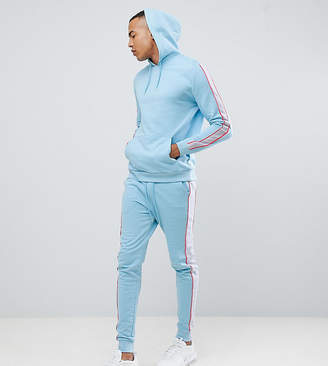 Asos DESIGN tall tracksuit hoodie/skinny joggers with side stripes