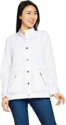 Isaac Mizrahi Live! Floral Burnout Button Front Anorak Jacket