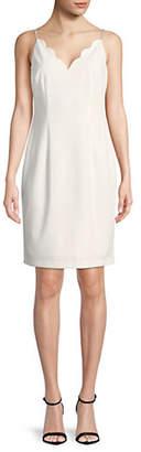 Karl Lagerfeld PARIS Scalloped V-Neck Dress