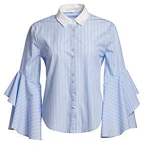 Jonathan Simkhai Women's Ruffle Sleeve Button-Down Shirt