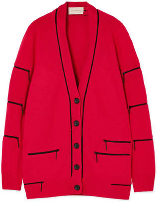 Zip-embellished Cashmere Cardigan - Red