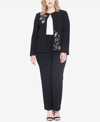 Tahari ASL Plus Size Embroidered Pantsuit