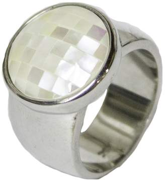 Mother of Pearl RS Covenant Women's Rhodium Plated Dress Ring Designer 051
