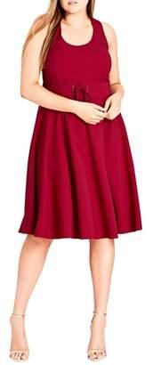 City Chic Corset Waist Fit & Flare Dress