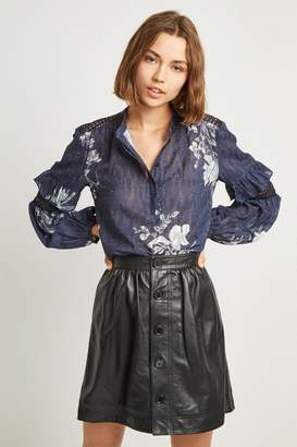 French Connenction Adela Leather Gathered Waist Skirt