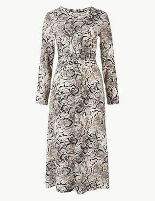 Marks and Spencer Animal Twist Front Fit & Flare Midi Dress