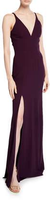 Dress the Population Iris V-Neck Sleeveless Column Gown with Slit