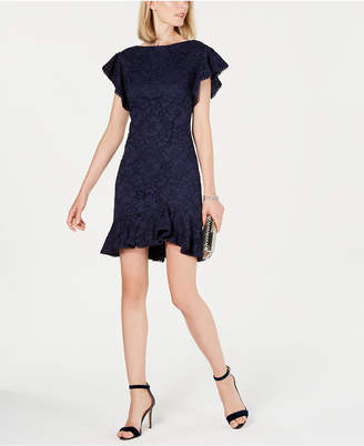 Vince Camuto Lace Flounce-Hem Dress