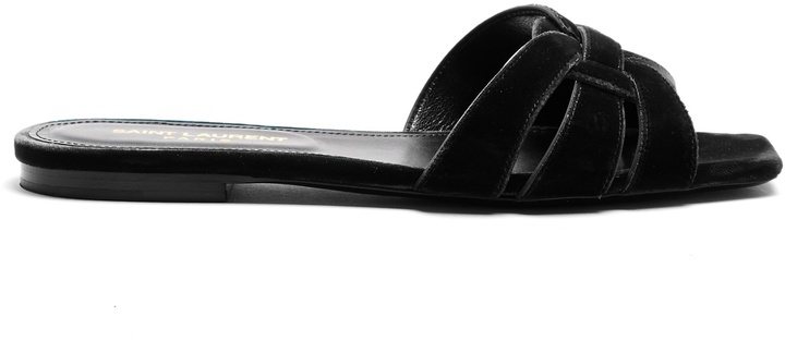 SAINT LAURENT Tribute velvet slides