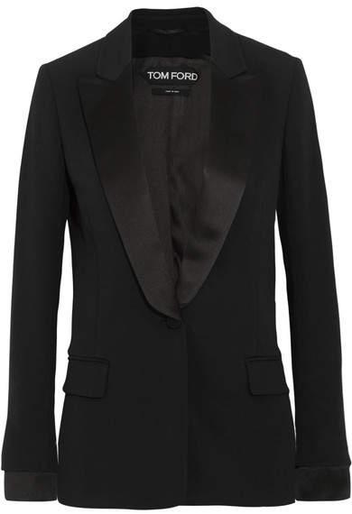 TOM FORD - Satin-trimmed Cady Tuxedo Jacket - Black