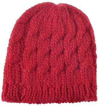Zodaca Women Beanie Hat Winter Warm Crochet Ball Girl Woman Thick Lined Cable Knitted Cap Hat Soft Knit Headwear - Red