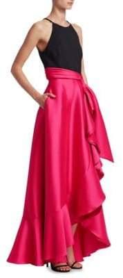 Badgley Mischka Two-Tone Floor-Length Gown