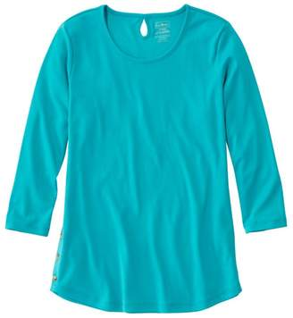 L.L. Bean L.L.Bean Pima Cotton Tee, Three-Quarter-Sleeve Side-Button Tunic